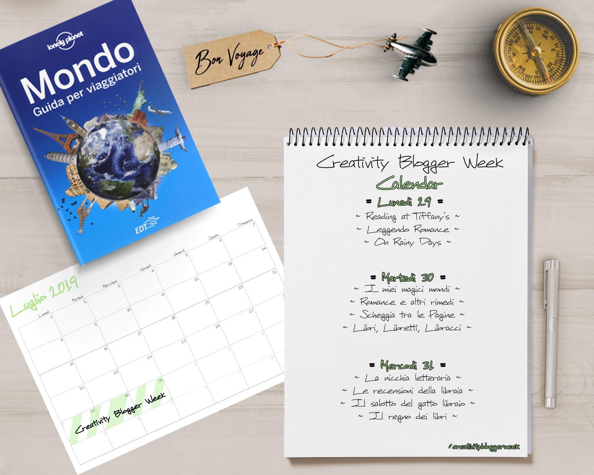 Calendario, blogger, blog partecipanti, creativity blogger week, viaggi nel mondo, viaggi in poltrona, libri, Harry Potter, il signore degli anelli, orgoglio e pregiudizio, il conte di Montecristo, cime tempestose, sulla strada, Austen, Dumas, Rowling, Tolkien, bronte, shadowhunters, Clare, Twilight, Meyer, rebel, Hamilton, figlie di una nuova era, Korn